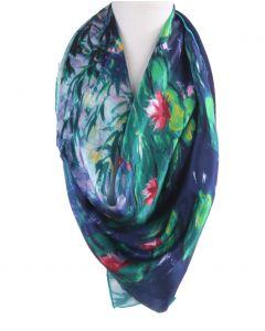 Vierkante zijden sjaal met afbeelding van ''Waterlelies'' door Claude Monet