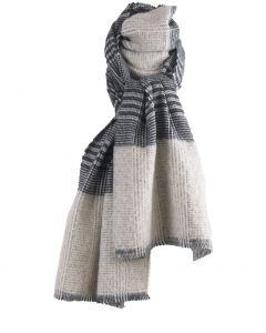 Zwart-witte sjaal met geweven Pied-de-poule patroon