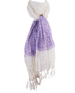 Wit/lila crushed katoenen sjaal met glittertje