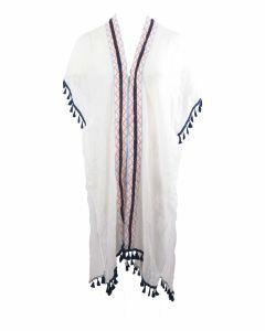 Kimono in wit met sierband en kwastenfranje