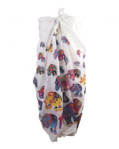 Witte pareo met kleurrijke olifanten print