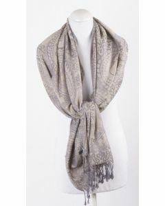 Zandkleurige geweven pashmina sjaal met paisley patroon