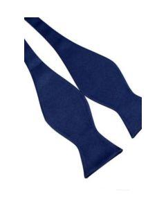 Marineblauwe satijnen zelf strikker vlinderdas