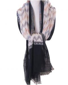 Sjaal in zwart-ecru met zigzag patroon