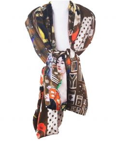 Zijden sjaal met patchwork print