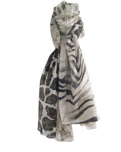 Zijden sjaal met verschillende dierenprints