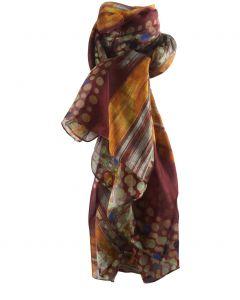 Zijden sjaal/stola met stippen- en strepen in okergeel en bruin