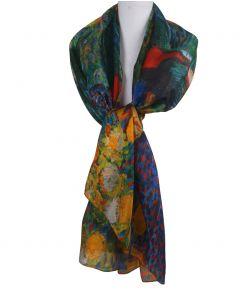 Zijden sjaal/stola met print ''Herinnering aan de tuin van Etten'' van Gogh