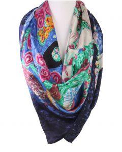 Vierkante zijden sjaal met print van de ''Die Jungfrau'' door Gustav Klimt