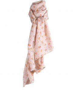 Ecru kleurige zijden sjaal met bloemenprint