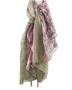 Luchtige zijden sjaal in tinten khaki-beige en roze