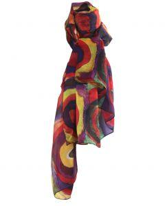 Zijden sjaal/stola met afbeelding van ''Cirkels'' van Wassily Kandinsky