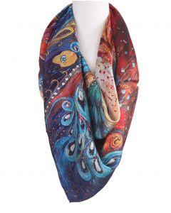 Vierkante zijden sjaal met kleurrijke pauwen print