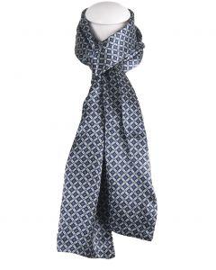 Satijn zijden herensjaal met blauw ruitje