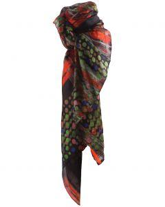 Zijden sjaal/stola met stippen- en strepen