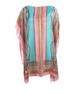 Zijde-blend tuniek in roze, camel en zeegroen