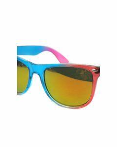 Trendy blauw/roze wayfarer-type zonnebril met spiegelglazen
