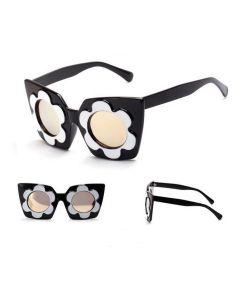 Zwart witte dames zonnebril met bloem