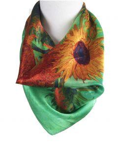 Mintgroene zijden sjaal met afbeelding van '' zonnebloemen'' Van Gogh
