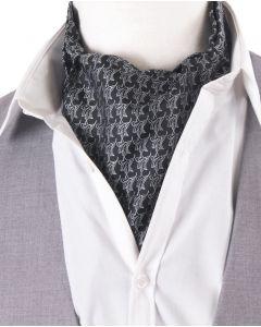 Zwarte cravat met witte bloemenprint