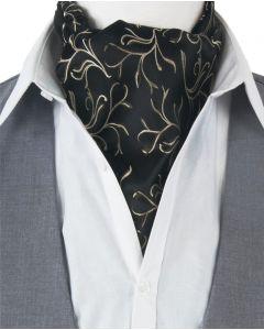 Zwarte cravat met klassiek takje in bruin - ivoor
