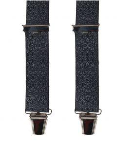Zwarte bretels met witte paisley print