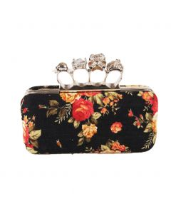 "Designer inspired ""boksbeugel"" clutch in zwart met rozenprint"