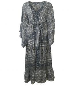 Zijden lange kimono met klokmouwen in zwart en grijs