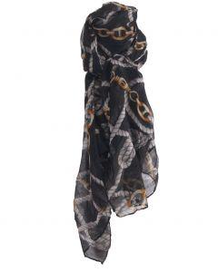 Luchtige zwarte sjaal met ceintuurprint