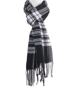 Zwarte sjaal met ruiten in wit