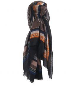 Sjaal met diverse prints in zwart en taupe