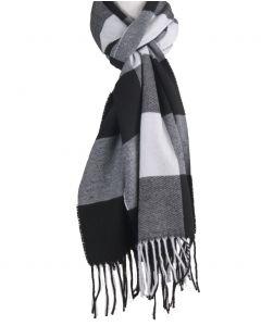 Zachte sjaal met ruiten in zwart en wit