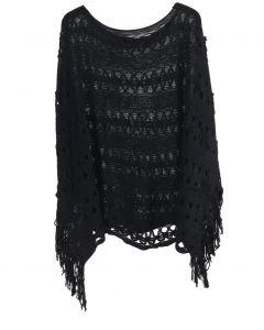 Gehaakte poncho in de kleur zwart