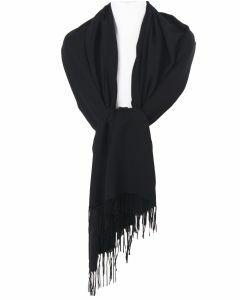 Soepelvallende effen zwarte pashmina sjaal