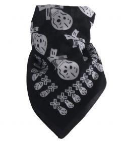 Zwarte boerenzakdoek/ bandana met skulls