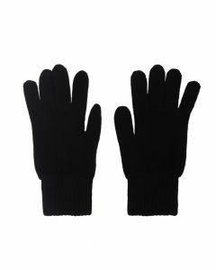 Fijn gebreide zwarte 100% kasjmier handschoenen