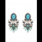 Turquoise steek oorbellen met strass-steentjes
