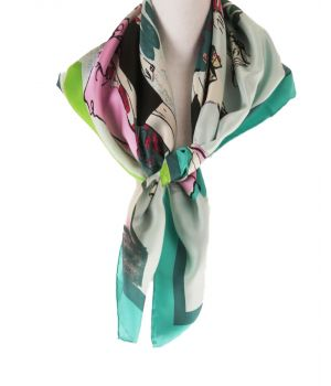 Lichtgroene twill-zijden sjaal met fashion print