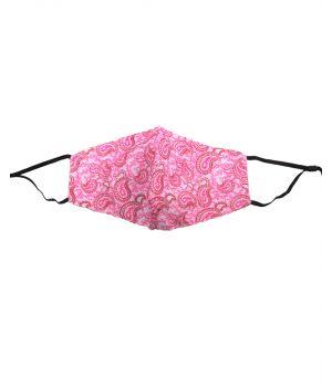 Katoenen verstelbaar mondkapje met roze paisley print