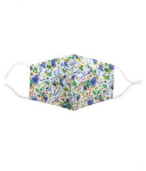 Katoenen verstelbaar mondkapje met groen-blauwe bloemenprint