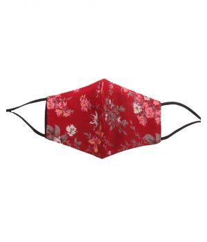 Katoenen verstelbaar mondkapje met donkerrode plant- & bloemenprint