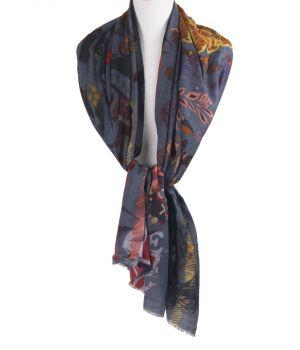 Grijze wollen mousseline sjaal met digitale print