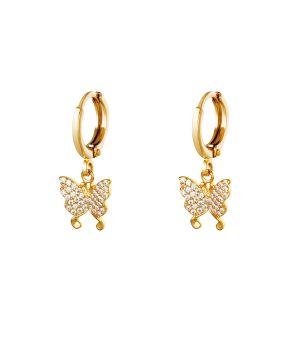 Goudkleurige oorbellen met vlinder hangertje