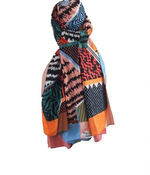 Zijde-blend sjaal met diverse kleurrijke dierenprints