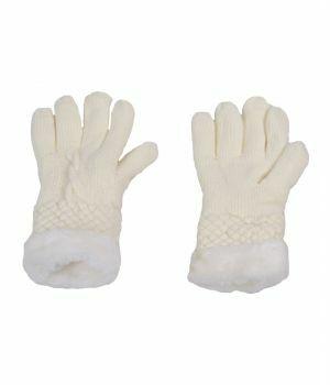 Ivoorkleurige handschoenen met kunstbont voering
