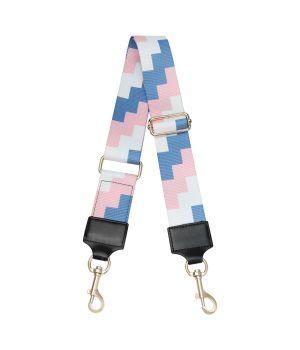 Schouderband met grafische print in roze en blauw