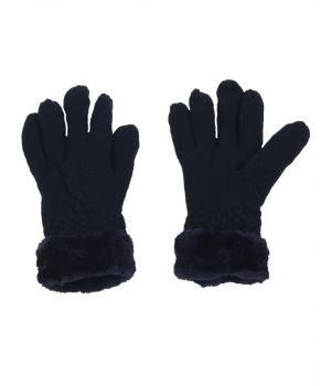 Donkerblauwe handschoenen met kunstbont voering