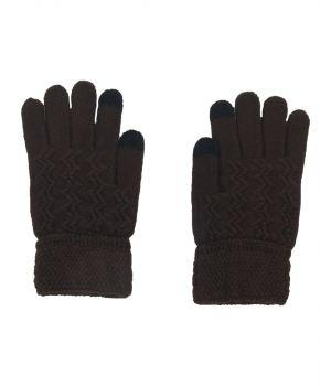 Gebreide i-gloves handschoenen in bruin
