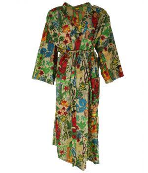 Lange lichtbeige katoenen kimono met Frida Kahlo print