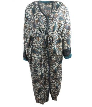 Lange ivoorkleurige zijde-blend kimono met bloemenprint